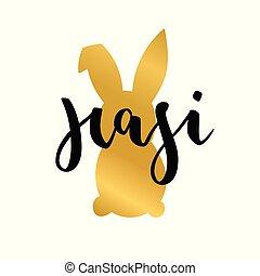 hasi, conejo pascua, texto alemán, letras, calligraphy.,...