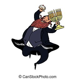 hasid dancing with donuts - Jewish man dancing with donut...