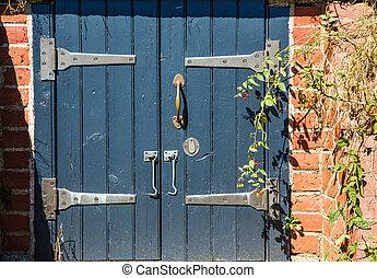 Hasps on Old Blue Doors