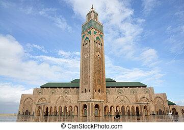 hassan ii清真寺, 在中, 卡萨布兰卡, 摩洛哥, 非洲