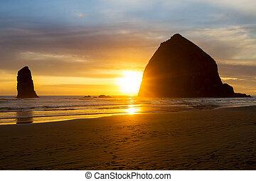hastack, plage canon, coucher soleil, rocher