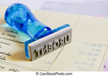 hastende, frimærke, på, indkassere, kvittering