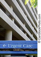 hastende, hospitalet, omsorg, tegn