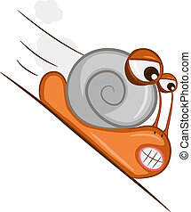 Hastening snail - The snail quickly goes down on a slope...