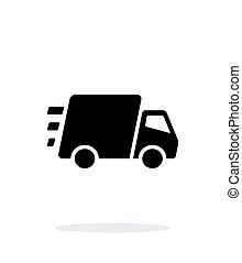 hastig leverans, bakgrund., lastbil, vit, ikon
