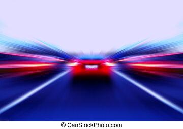 hastighed, afføringen, automobilen, på, gade