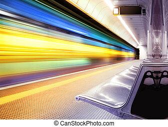 hastighed, tog, ind, undergrundsbane