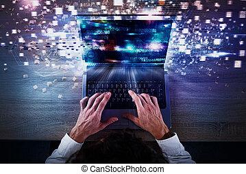 hastighet, global, internet samband, begrepp