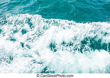 hastighet, ocean, vakna, tvätta, vit, stötta, (wave, båt