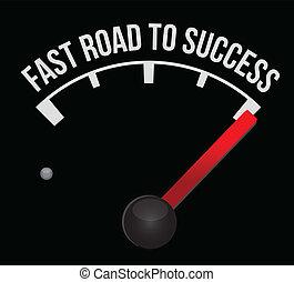 hastighetsmätare, göra poäng, fasta, succé väg
