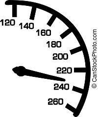 hastighetsmätare, med, numrerar, från, 120, till, 260