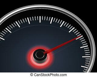 hastighetsmätare, på, skum fond