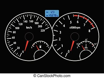hastighetsmätare, tachometer, illustration, vektor, ...