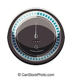 hastighetsmätare, till räkna, hastighet, ikon, tecknad film, stil