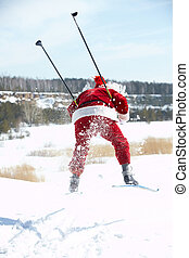 Hasting Santa  - Santa Claus rushing on skies