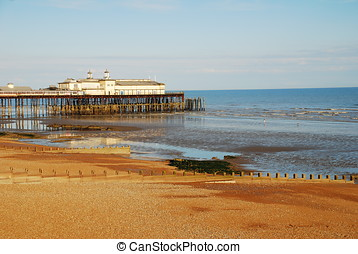 Hastings beach and pier, England - The shingle beach at...