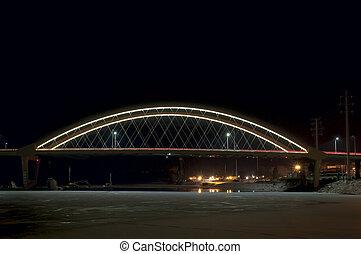 Hastings Bridge Illuminated at Night