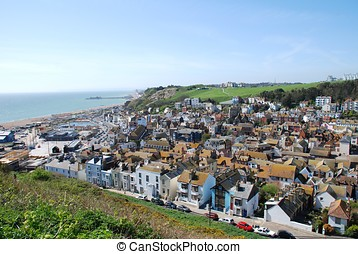 Hastings Old Town, England - Looking over the Old Town area...