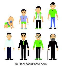 használók, nemzedék, -ban, különböző, ages., ember, öregedő, -, csecsemő, gyermek, tizenéves, fiatal, felnőtt, öregedő, elszigetelt, white, háttér, -, vektor, illustration.