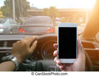 használ, egy, smartphone, időz, kocsikázás autó