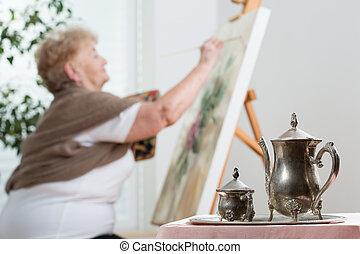 használ, festőállvány, festmény, közben