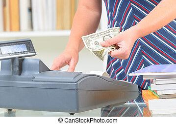 Használ, könyvesbolt, jegyzék, készpénz, eladó