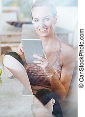 használ, nő, modern, tabletta
