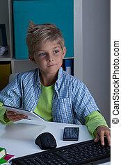 használ, technologies, modern, gyermek