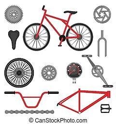 használt, bicikli, terep-, alkatrészek, bicikli, bmx, sport, versenyzés