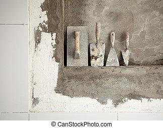 használt, habarcs, cement, szerkesztés, idős, eszközök