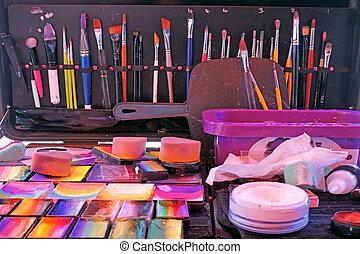 használt, művészet, csövek, söpör, arc festmény, festmény