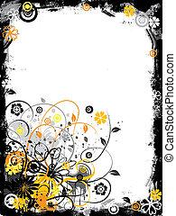 határ, grunge, vektor, virágos