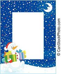 határ, noha, karácsony, hóember