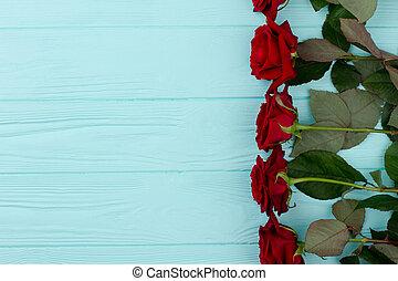 határ, színes, agancsrózsák, fából való, háttér., piros