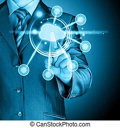 határfelület, touchscreen, felhő, kiszámít