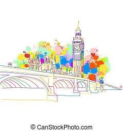 határkő, skicc, london, színes