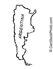 határok, vektor, fekete, illustration., argentina.