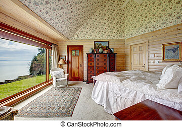 hatásos, bámulatos, ablak, tágas, hálószoba, kilátás