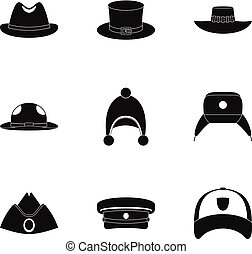 Hat accessory icon set, simple style - Hat accessory icon...