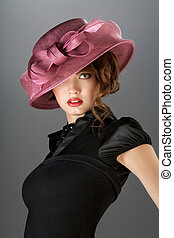 Hat and dress. - A portraot of a vintage sexy lady wearing...