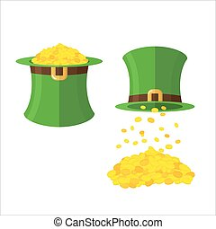 Hat and gold leprechaun set. Gold coins in hat top hat. Magical wealth poured from  Green dwarf hats. illustration for feast of St. Patrick in Ireland