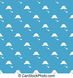 Hat and pipe pattern seamless blue