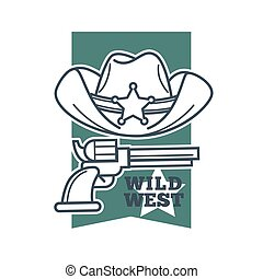Hat and revolver with wild west words