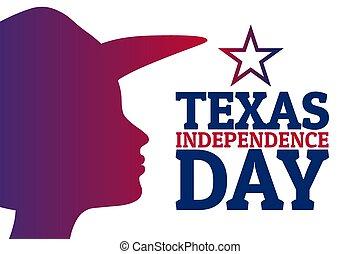 hat., bandiera, vettore, day., indipendenza, testo, marzo, sagoma, inscription., illustration., eps10, fondo, vacanza, texas, scheda, manifesto, concetto, silhouette, femmina, 2