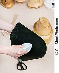 hat-block, gluing, feltro, chapeleiro, formar, capuz