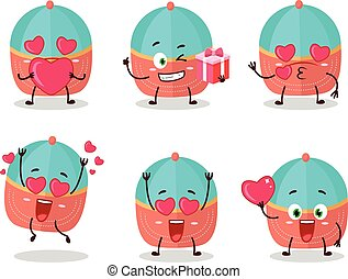 Hat cartoon character with love cute emoticon