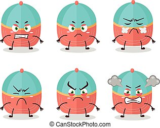 Hat cartoon character with various angry expressions