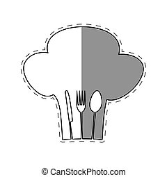 hat chef cook fork spoon knife restaurant emblem shadow