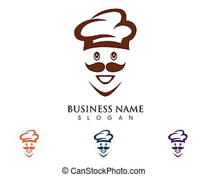 chef hat logo design concept template