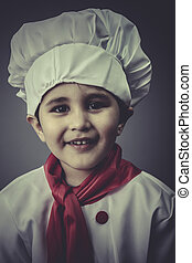 hat child dress funny chef, cooking utensils